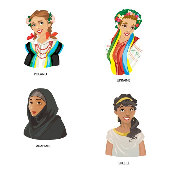 Vector country characters women set in Illustrations