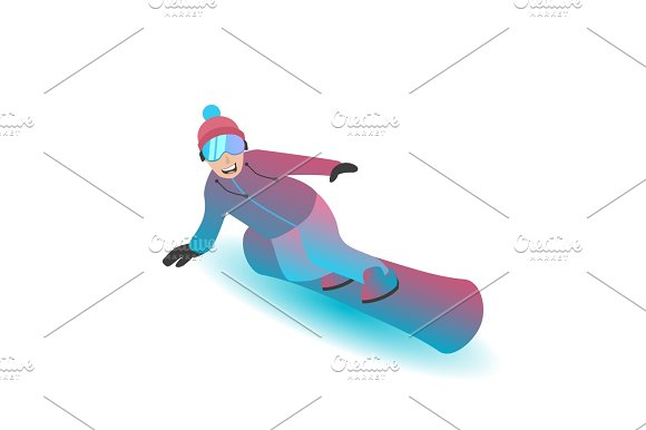 Male character standing on a snowboard.