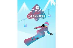 Snowboarding illustration of a female character.