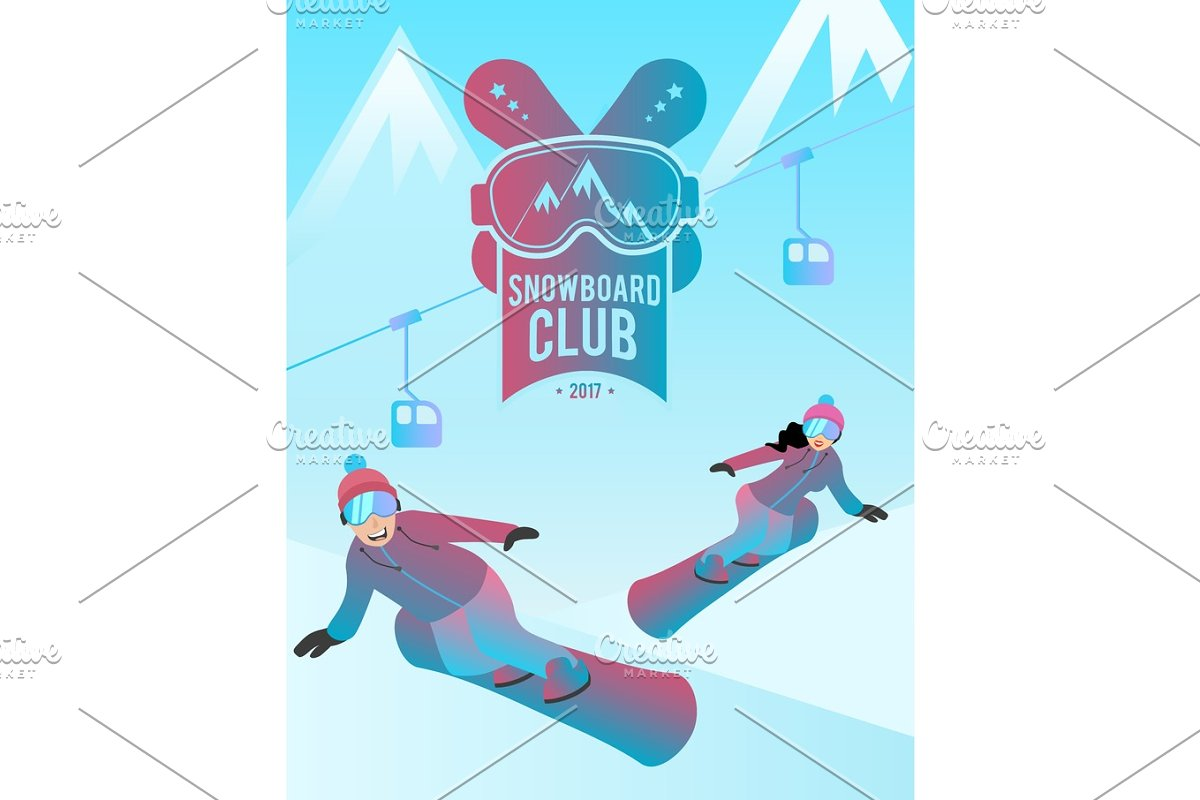 Snowboard club illustration with a couple of man and woman.