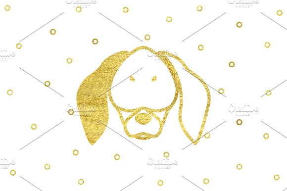 Gold Dog Head Happy New Year 2018 in Illustrations