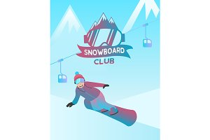 Snowboard club Illustration and man moving over snow down the mountain.