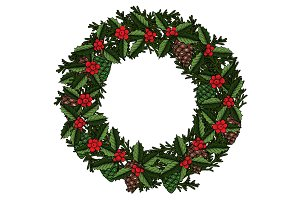 Christmas holly berry and mistletoe wreath.