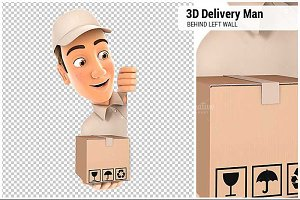 3D Delivery Man Behind Left Wall