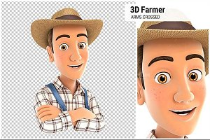 3D Farmer with Arms Crossed