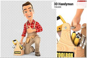3D Handyman with Toolbox