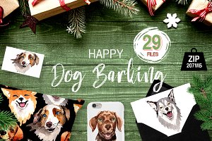 Dogs barking new year PNG watercolor