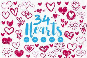 Vector Heart Clipart Bundle Elements