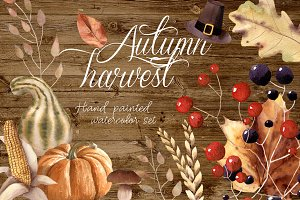 Autumn Harvest Watercolor Clipart
