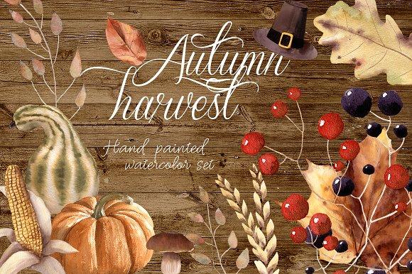 Autumn Harvest Watercolor C-Graphicriver中文最全的素材分享平台