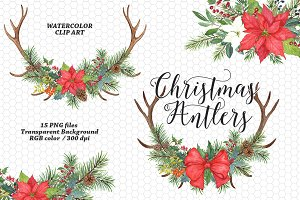 Watercolor Christmas Antler Clipart