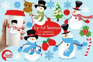 Top Hat Snowmen Clipart AMB-502