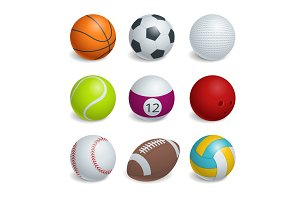 Isometric Sports Balls Set.