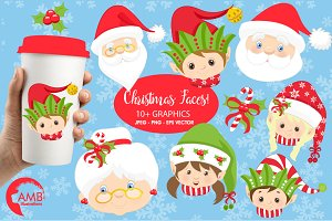 Christmas Faces Clipart, AMB-191