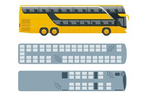 Isometric Double Decker Bus or intercity and plan of seating arrangements. Urban transport. For infographics and design games.