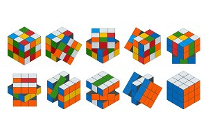 Isometric cube toy puzzle, 3x3 square. Rubiks cube on a white background. This famous cube puzzle was invented by the architect Erno Rubik in 1974