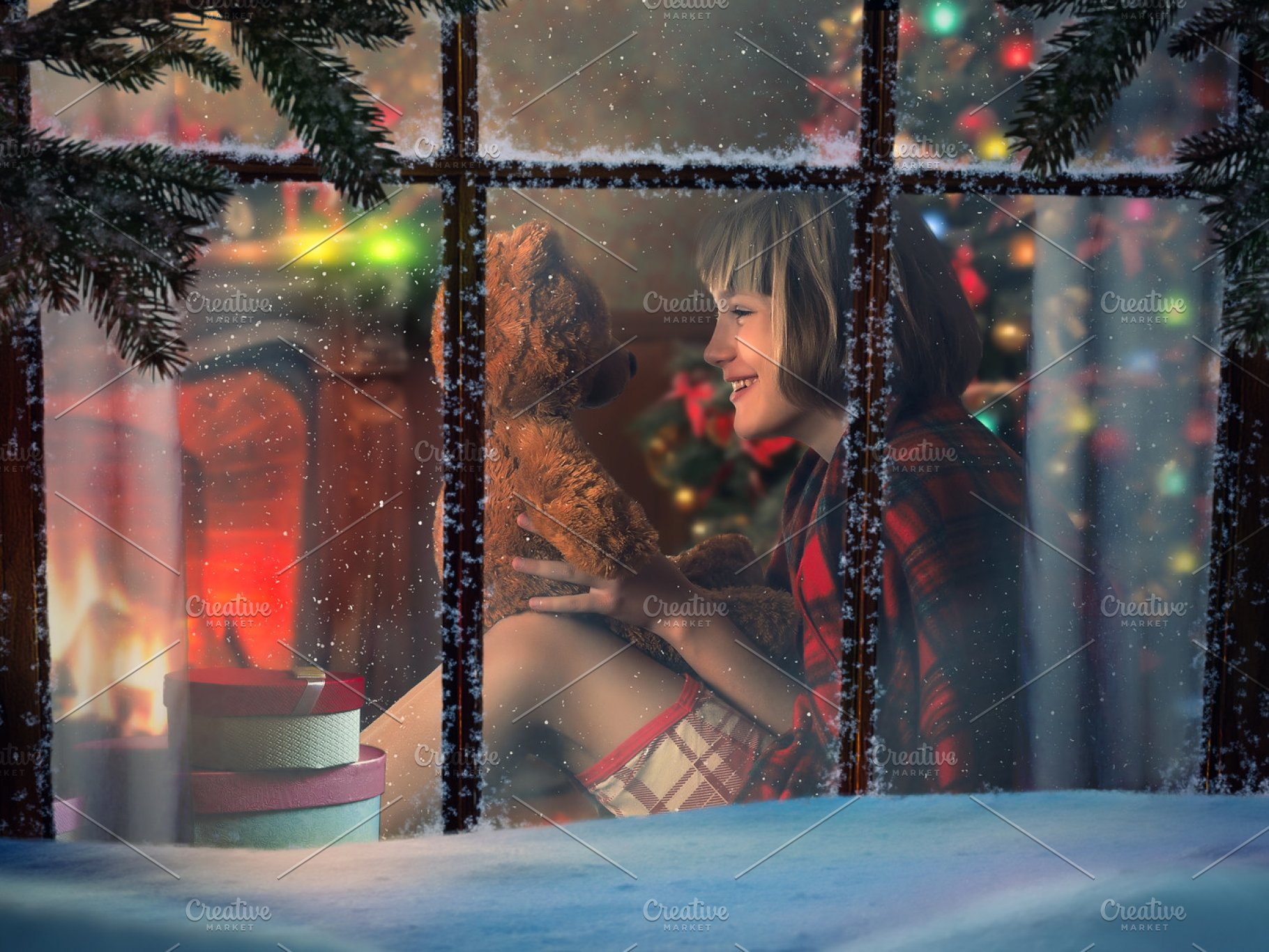 Looking Through Snowy Window At Home Happy Child With Teddy Bear