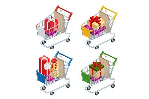 Food basket DISCOUNT or shopping cart with gifts and discounts. Shopping trolley with Big pile of colorful wrapped gift boxes isolated on white. Shopping at supermarket.