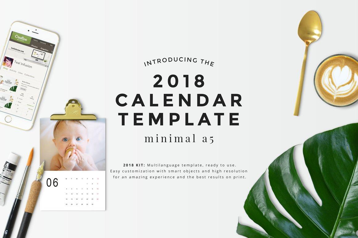 3b65c61fda3e Minimal A5 - 2018 Calendar Template ~ Stationery Templates ~ Creative Market