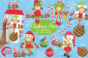 Christmas Elves Clipart AMB-195