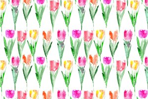 Watercolor tulips pattern