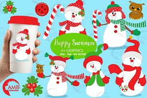 Happy Snowmen Clipart AMB-503