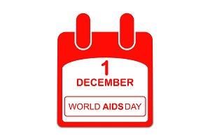 World Aids Day  1 December Poster. calendar sheet.