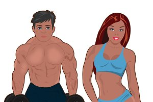 bodybuilder and fitness girl
