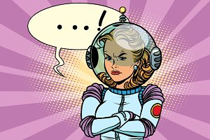 Comic illustration of angry woman astronaut