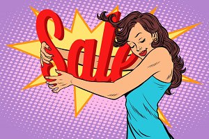 Woman hugging sales, love to shopping