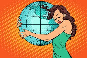 woman hugging the earth mainland America