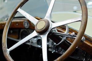 Historic car detail. Steering wheel