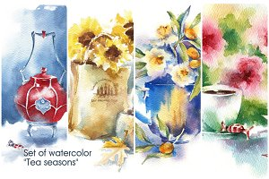 "Set of watercolor ""Tea seasons"""