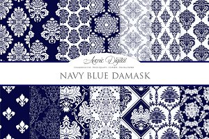 28 Navy Blue Damask Digital Papers