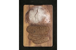 Sliced homemade sourdough rye bread top view