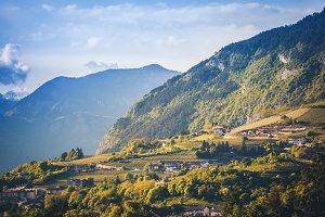 Golden hour in Alps in summer