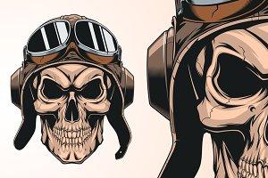 skull in helmet pilot