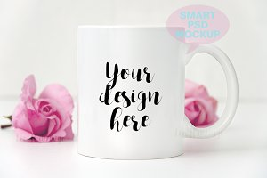 White coffee mug mockup template cup