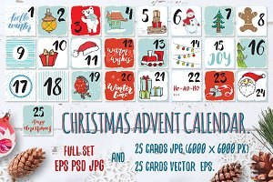 Christmas Advent Calendar Cards Set