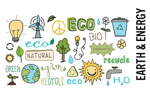 Earth and Energy Doodle Clipart