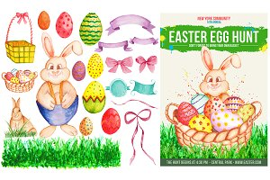 Watercolor Easter Flyer & Designs