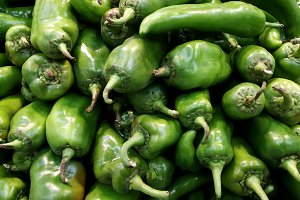 Green peppers at market