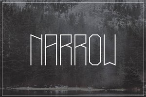 Narrow typeface, 4 weights + styles