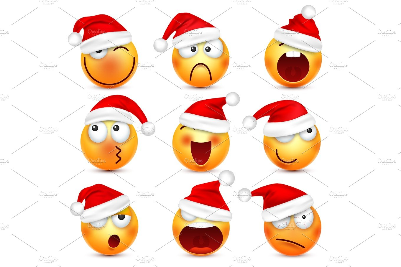 Smiley,emoticon set. Yellow face with emotions and Christmas hat. New Year, Santa.Winter emoji ...