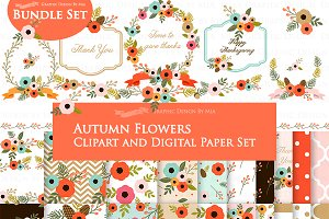 Autumn Flowers Clipart+Pattern set