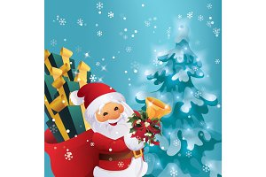 Winter night in Christmas forest. Santa Claus with gift bag and bell in hand.