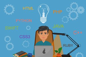programming, vector illustration