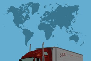 Truck and world map, vector