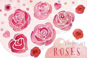 Watercolor roses clip art