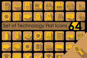 64 TECHNOLOGY flat icons
